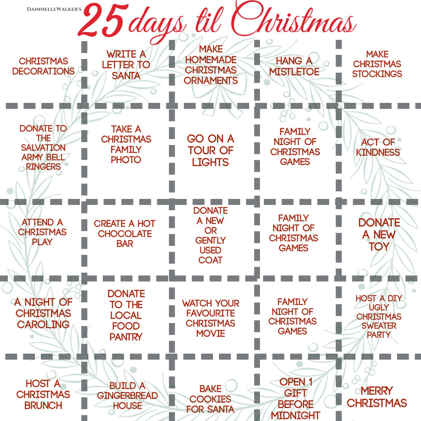 25 days until christmas list