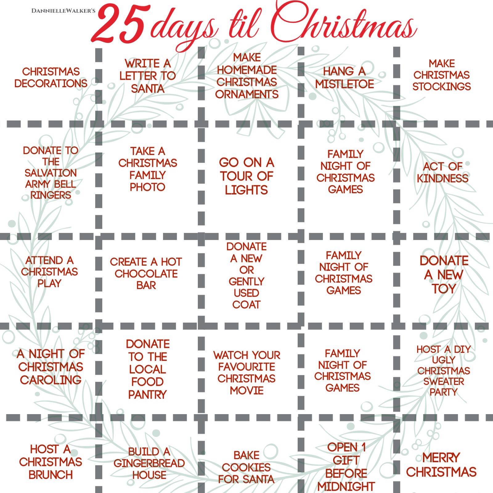 25 days until Christmas list